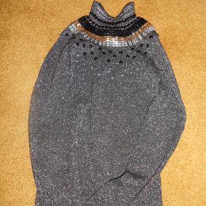 Investment Rhinestones Sweater Gray Gold Metallic